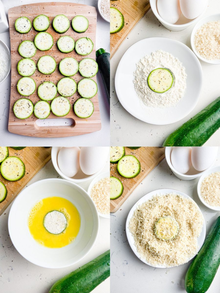 Step by step photos showing how to make zucchini chips in the air fryer.