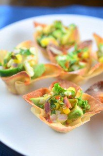 Avocado and Corn Salsa Wonton Cups