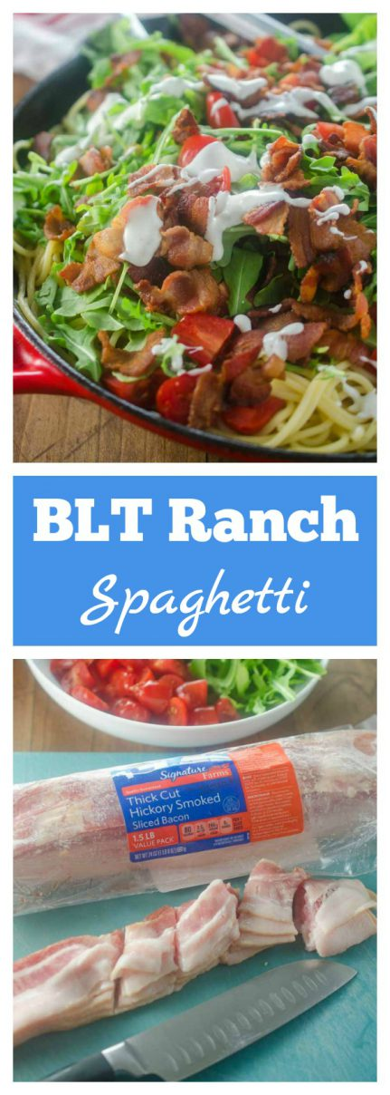 This Ranch BLT Spaghetti is full of thick cut bacon, diced tomatoes, arugula and a drizzle of ranch. It'll be a family favorite for sure! #ad