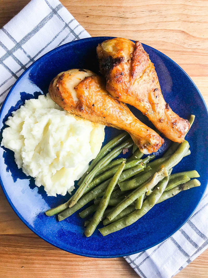 This recipe for simple baked chicken legs is a kitchen staple! A great weeknight dinner and perfect for the whole family!