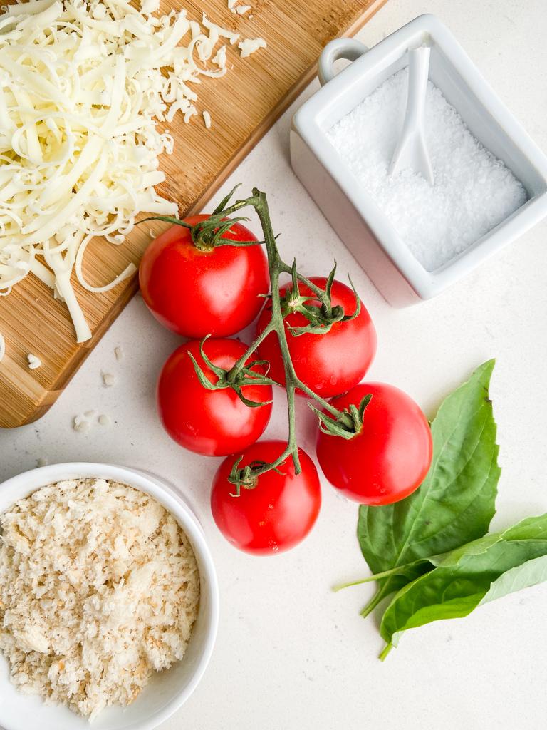 overhead photo of ingredients needed to make stuffed campari tomatoes.