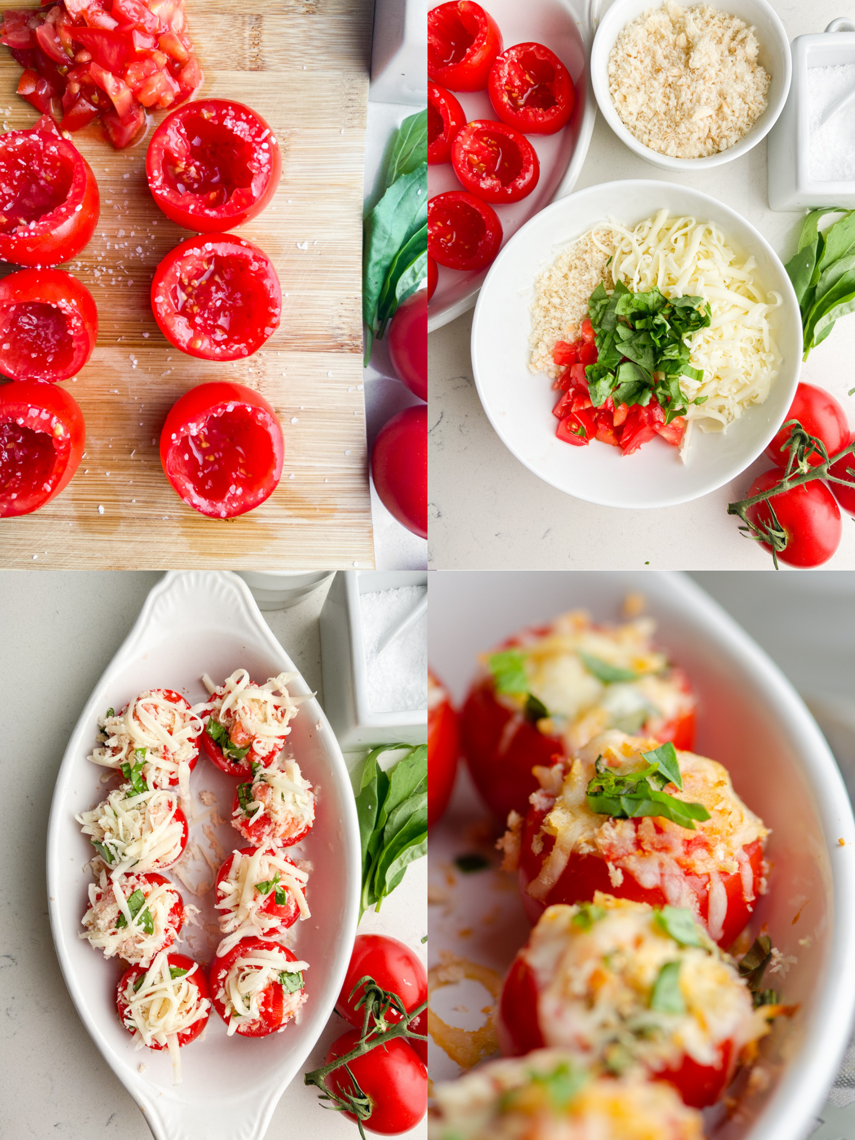Step by step photos showing how to make stuffed tomatoes.