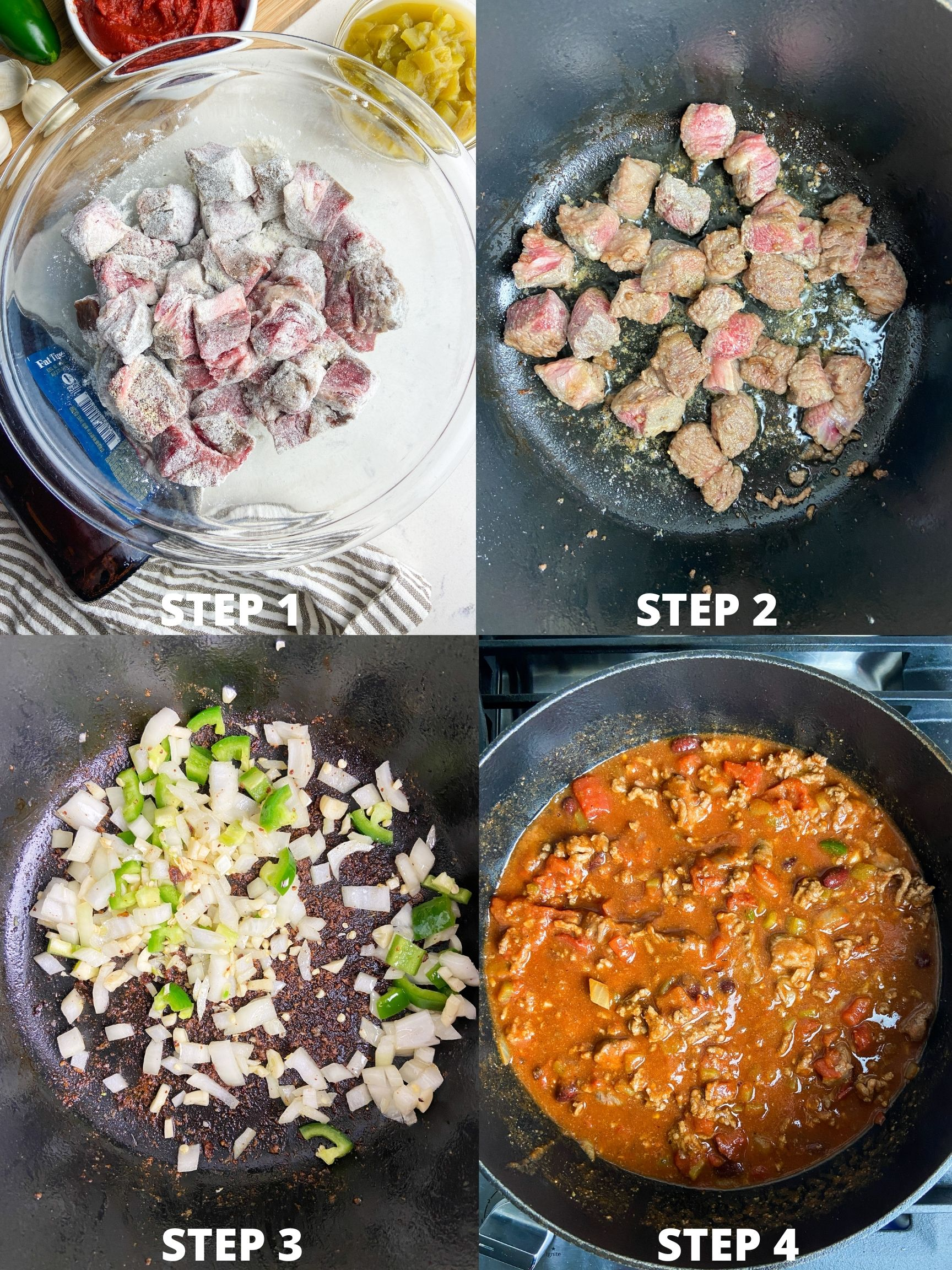 Step by step photos showing how to make beef chili
