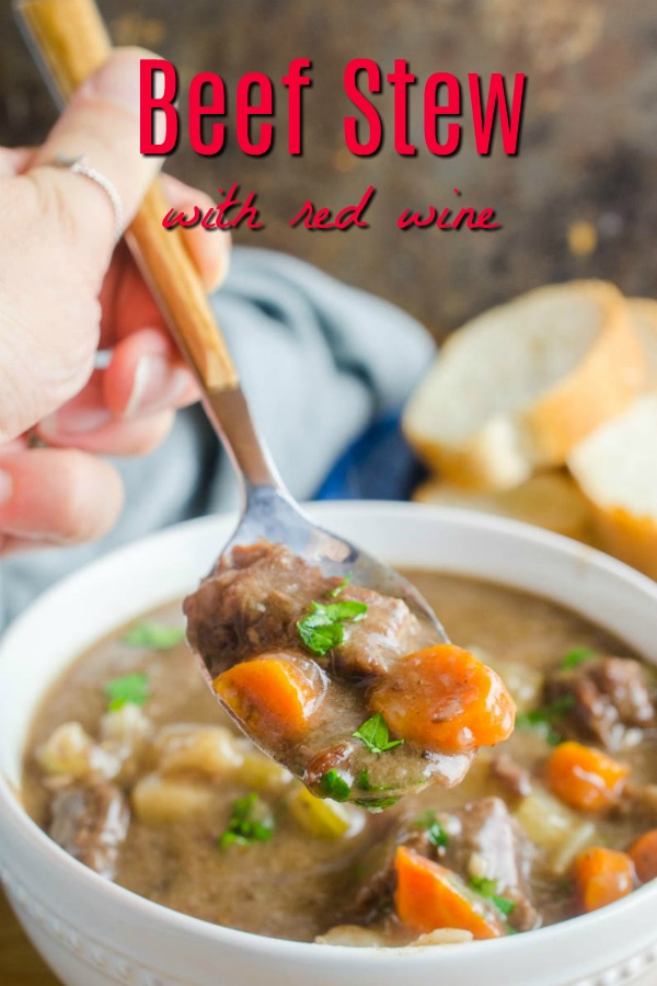Beef Stew with Red wine is a hearty stew full of tender fall apart beef, vegetables, beef broth and red wine. It's the perfect cold weather comfort food! #stew #beefstew #dinner
