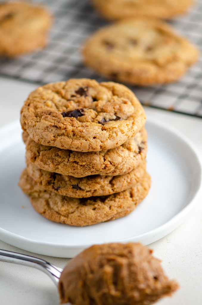 Stack of biscoff and dark chocolate chip cookies.