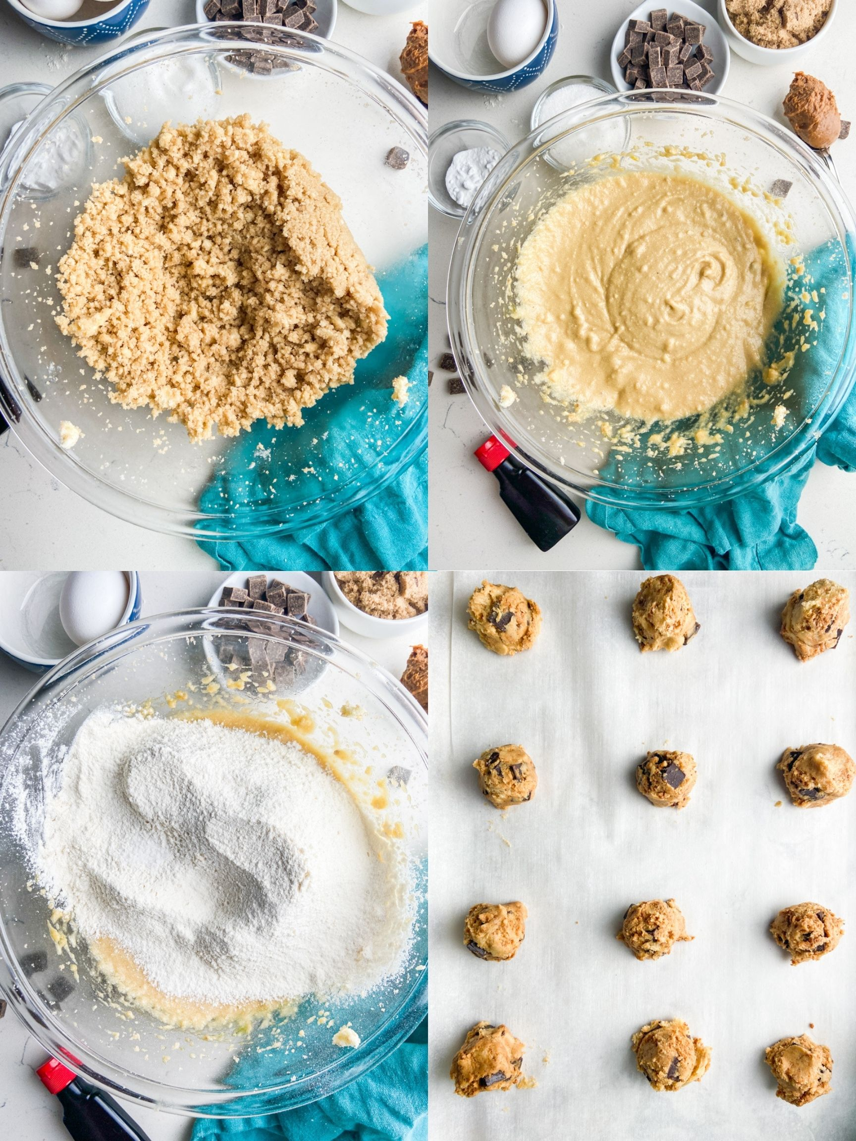A collage of step by step photos showing how to make chocolate chip cookies with Biscoff spread.