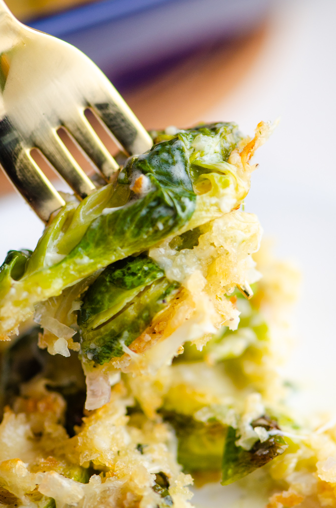 Forkful of brussels sprouts gratin.