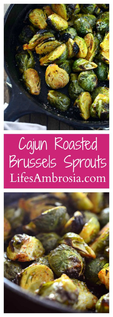 Crispy cajun roasted brussels sprouts are a perfect way to spice up your holiday menu.