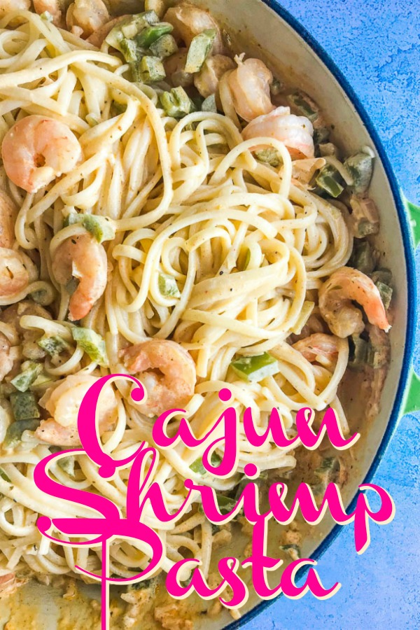 Cajun Shrimp Pasta easy enough for a weeknight meal, decadent enough for a date night! Shrimp simmered in a creamy cajun sauce tossed with linguine. #seafood #shrimp #pasta #cajunshrimp #easy #spicy