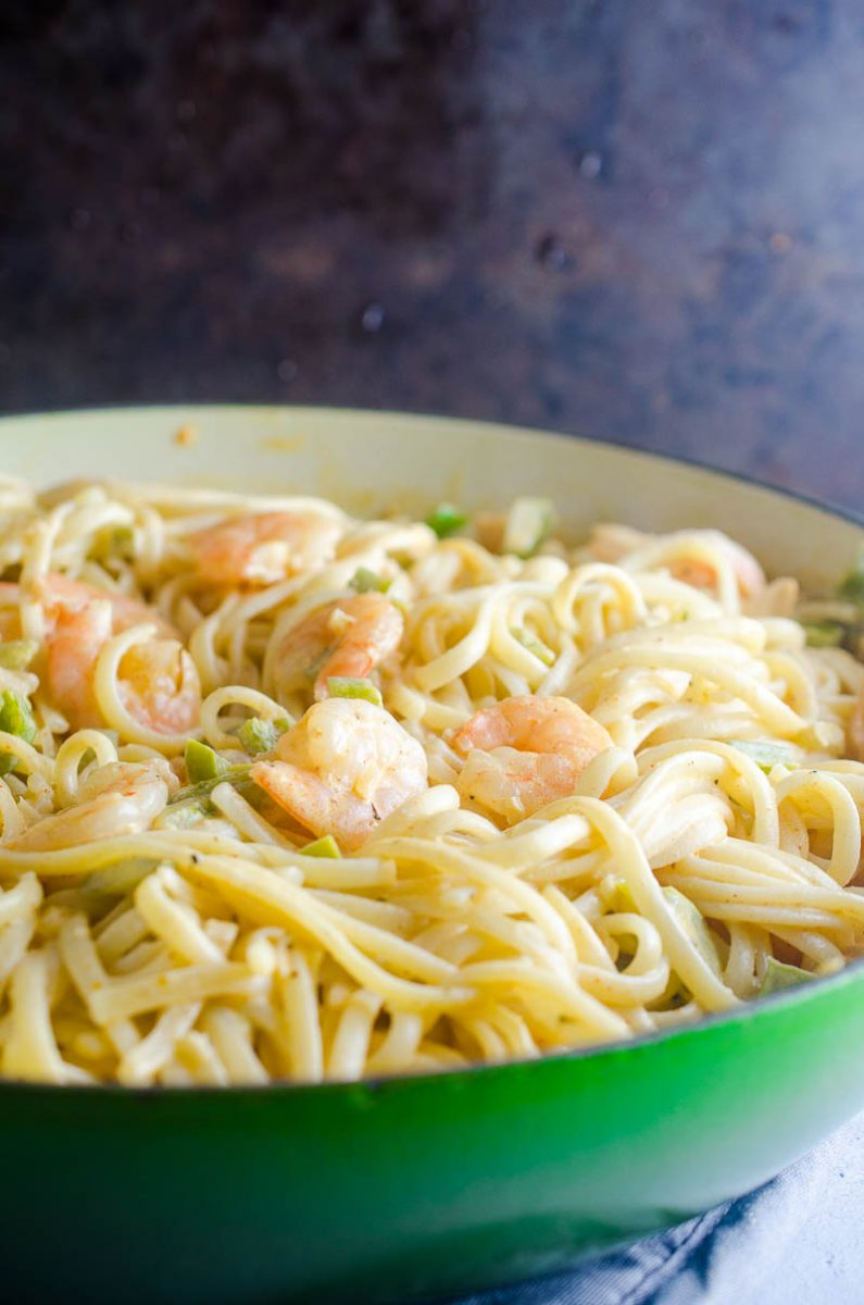 Cajun Shrimp Pasta is a decadent pasta with shrimp sautéed in a creamy sauce and tossed with pasta. Great for date night or any day you want to indulge.
