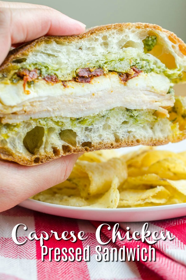 #ad Caprese Chicken Sandwich. A pressed sandwich with only 5 ingredients and picnic perfect! #chicken #capresechicken #pressedsandwich #sandwich #picnic