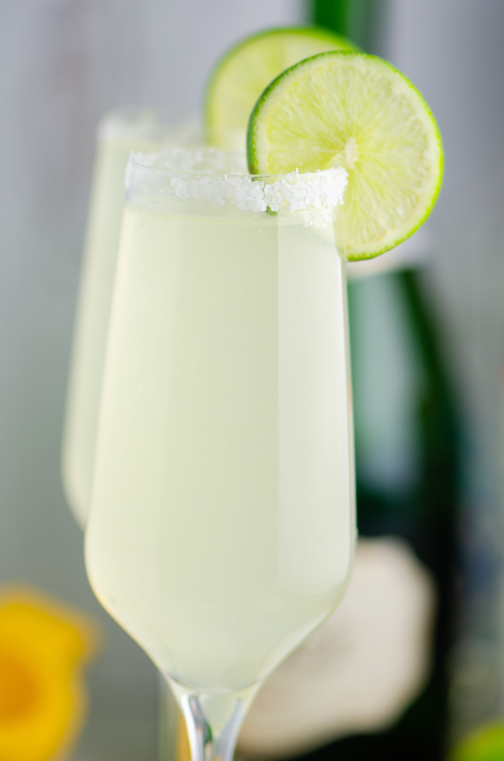 Close up of champagne margarita