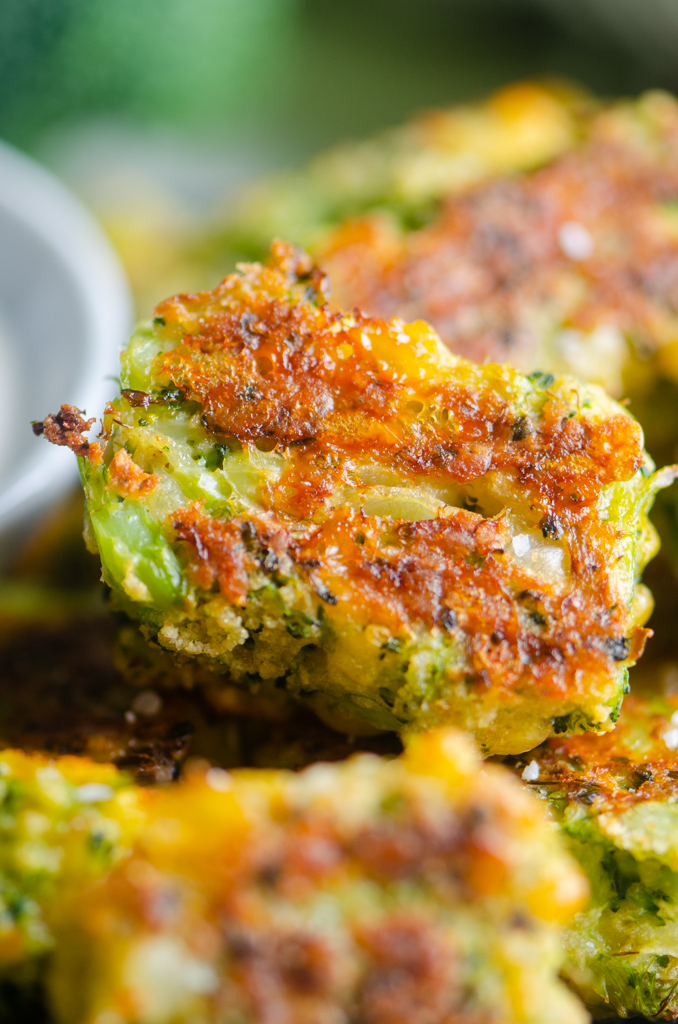 Close up view of broccoli tot.