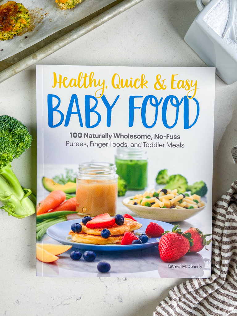 Overhead photo of Healthy, Quick and Easy Baby Food cookbook.