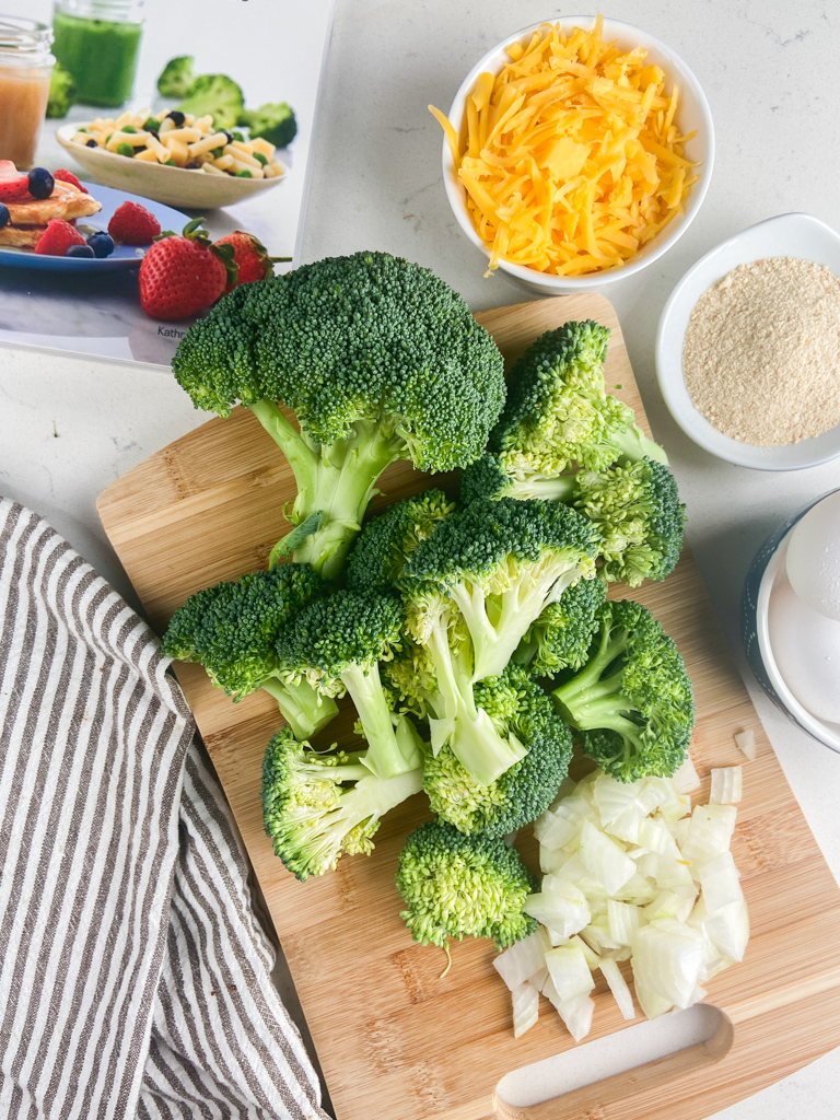 Overhead photo of ingredients needed to make baked broccoli tots.