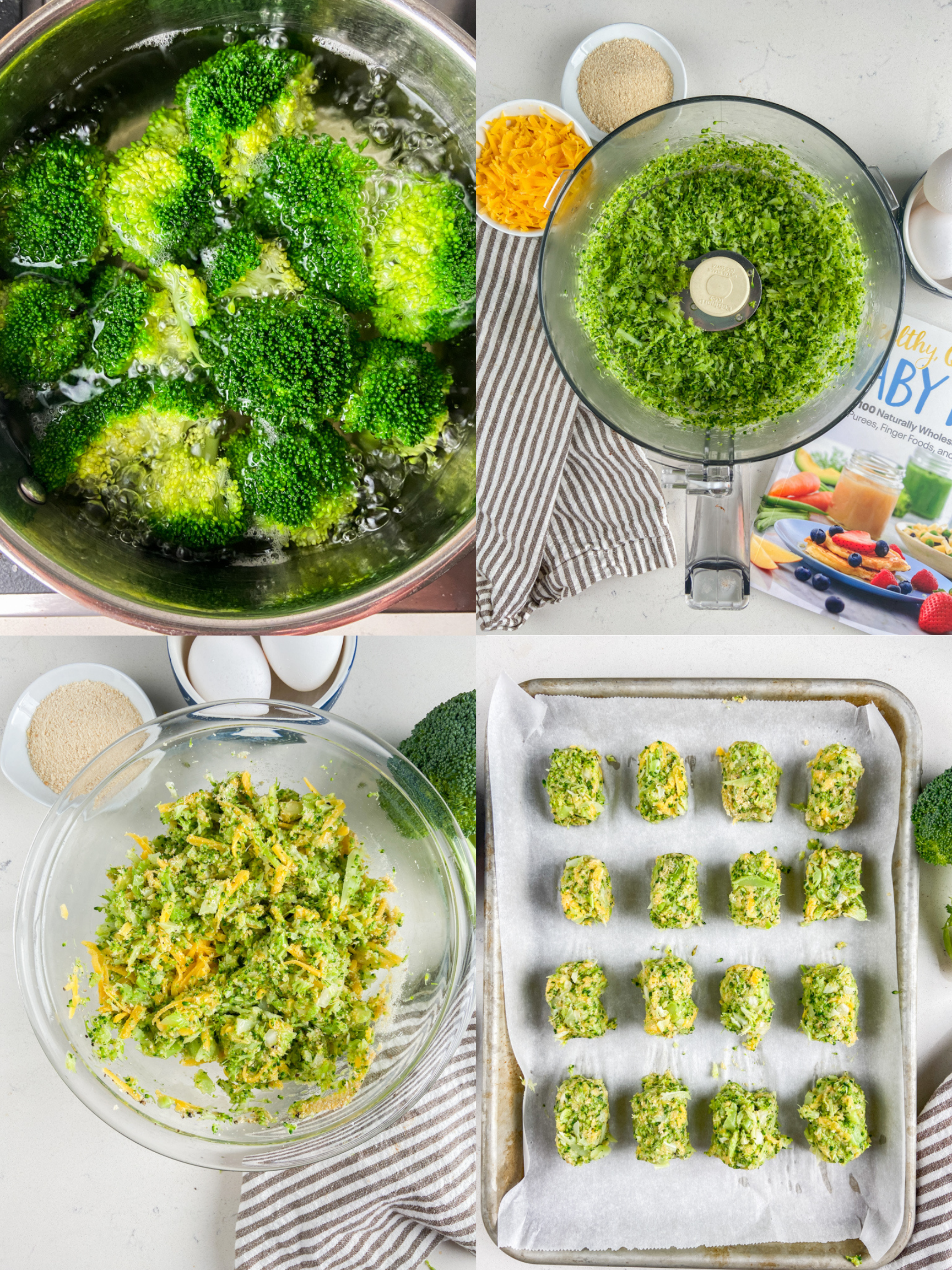 Step by step photos showing how to make broccoli tots.