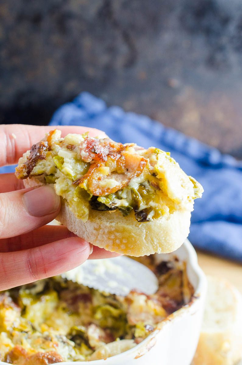 Brussels Sprouts Dip on bread.