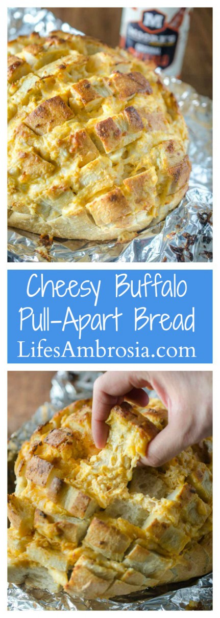 #ad This Cheesy Buffalo Pull-Apart Bread loaded with 3 cheeses, chicken and Moore's Original Buffalo Sauce, is perfect for all of your game day shenanigans!