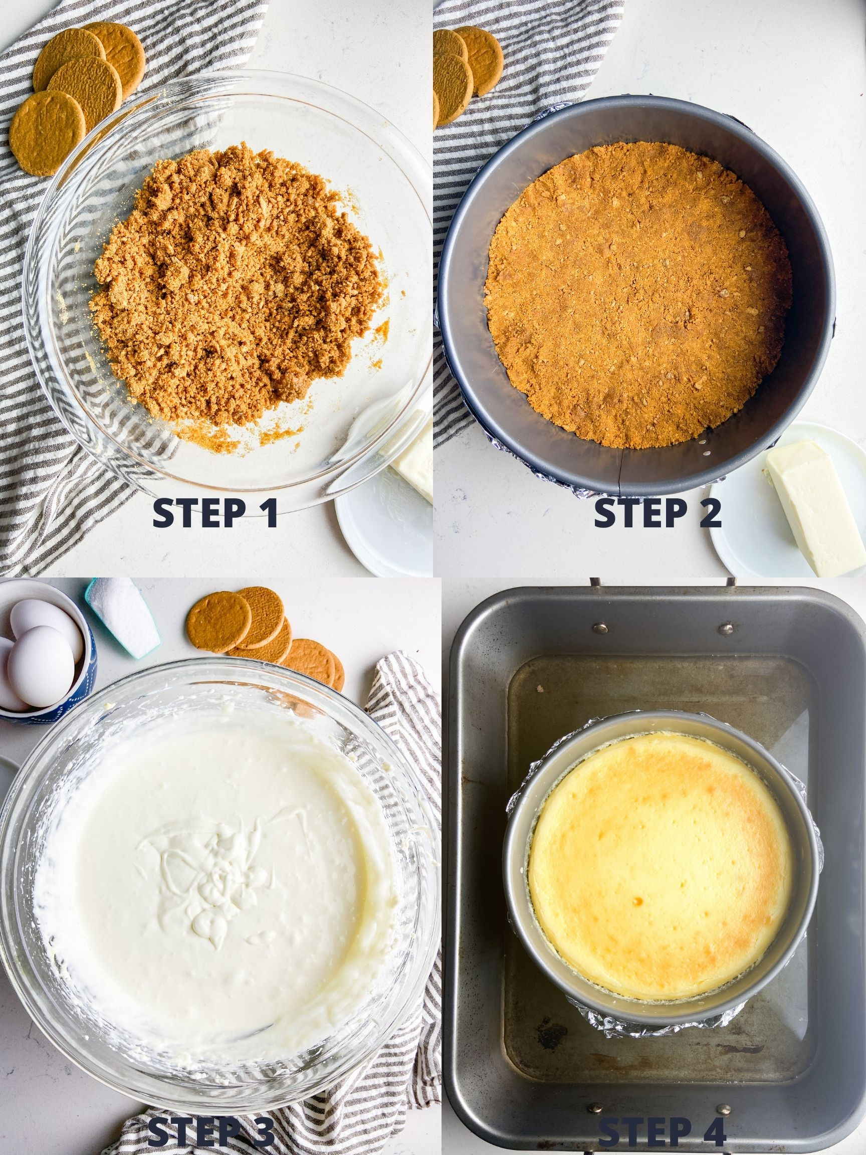Step by Step instructions for cheesecake.
