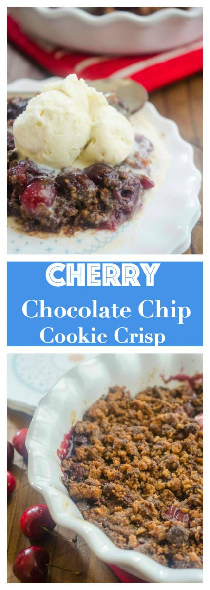 This Cherry Chocolate Chip Cookie Crisp is the perfect way to use summer cherries. Fresh sweet cherries topped with a chocolate chip cookie crumble and baked until bubbly.