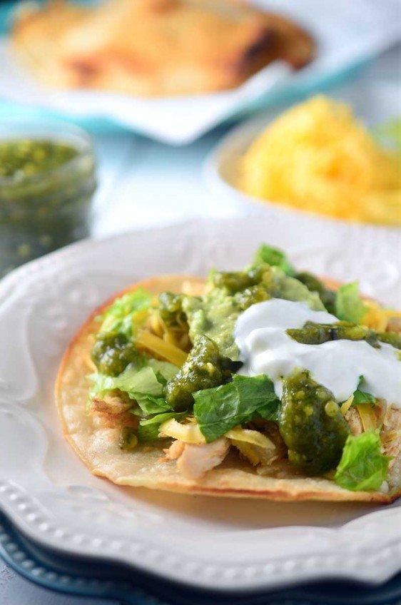 Chicken Tostada with Roasted Jalapeño Salsa
