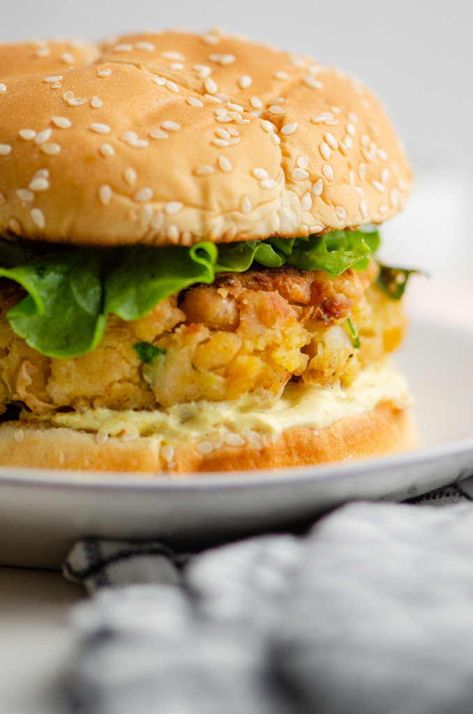 Close  up photo of chickpea burger.
