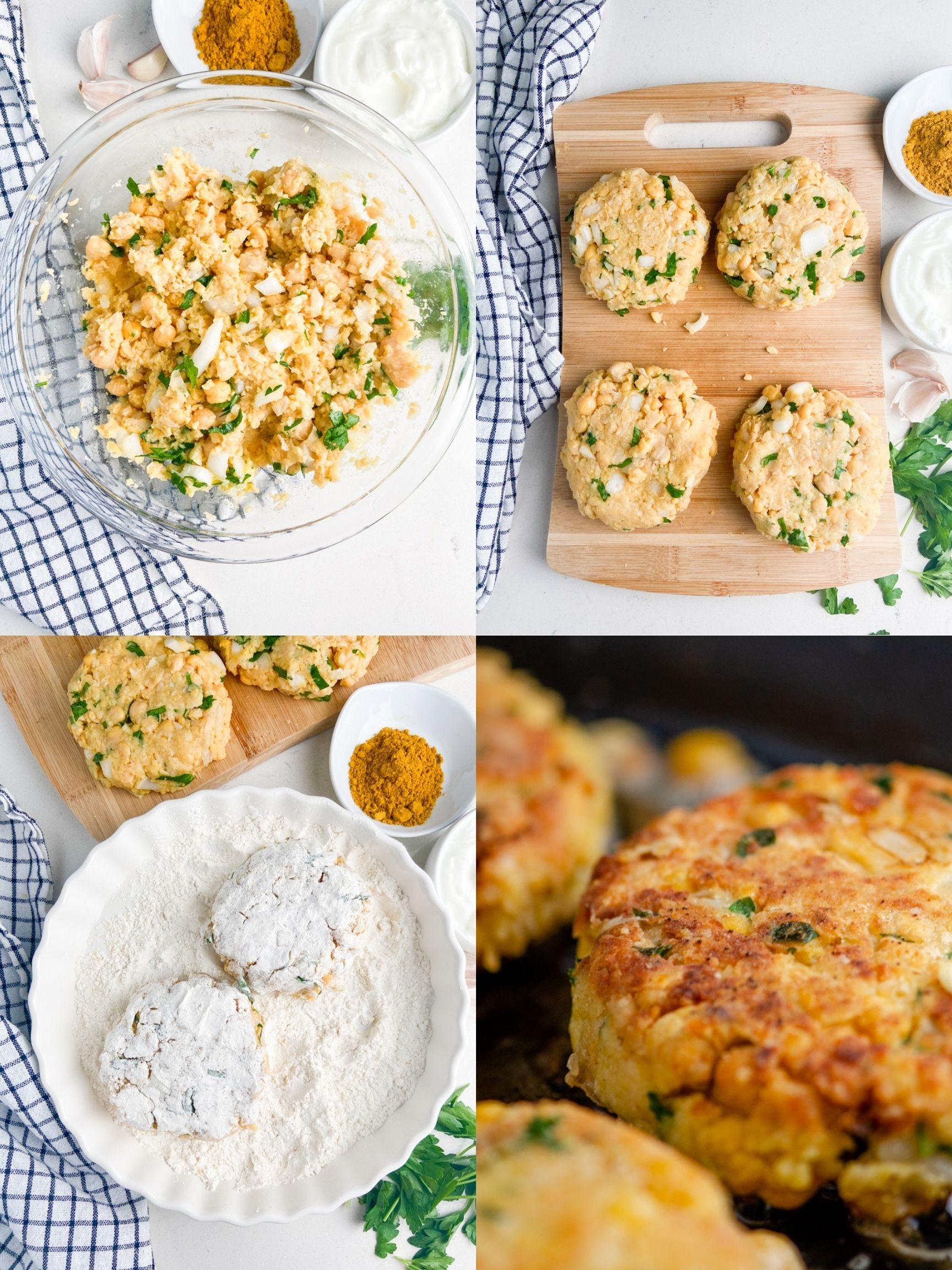 A collage of step by step photos showing how to make chickpea burgers.