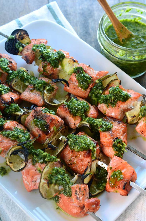 Chimichurri Salmon Skewers