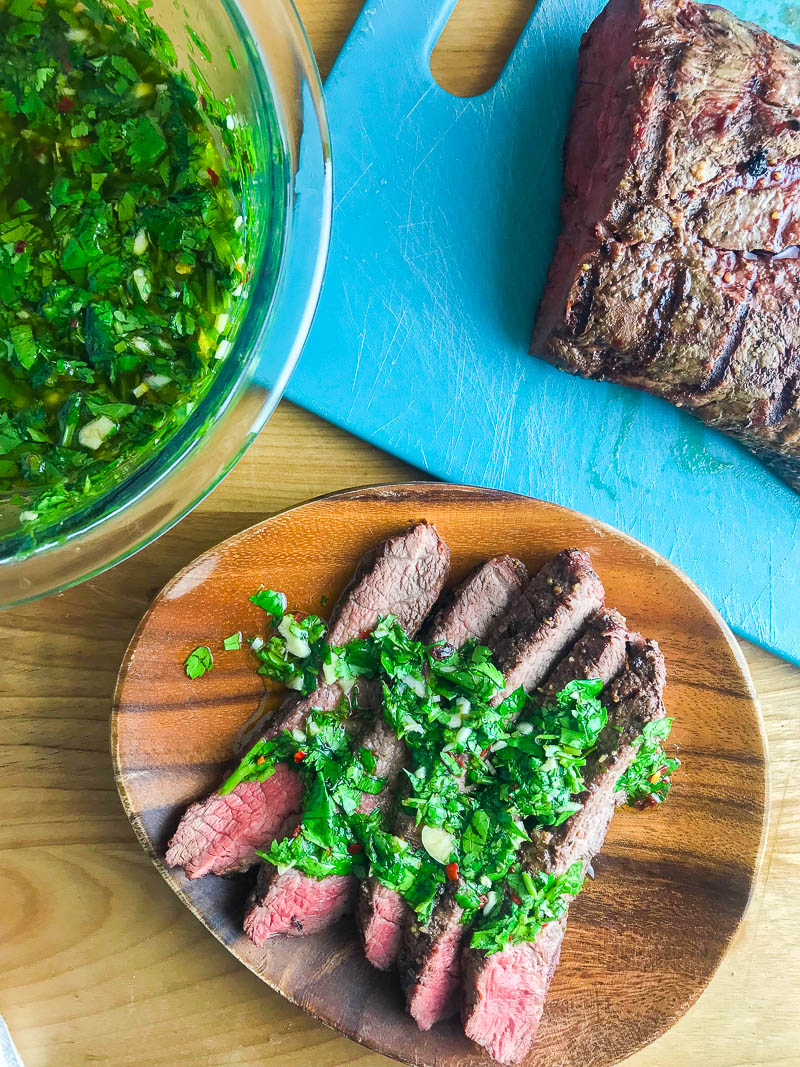 Chimichurri sauce is a classic Argentinian condiment. It's flavorful, versatile and can be ready in about 5 minutes. You'll want to put it an all the things!