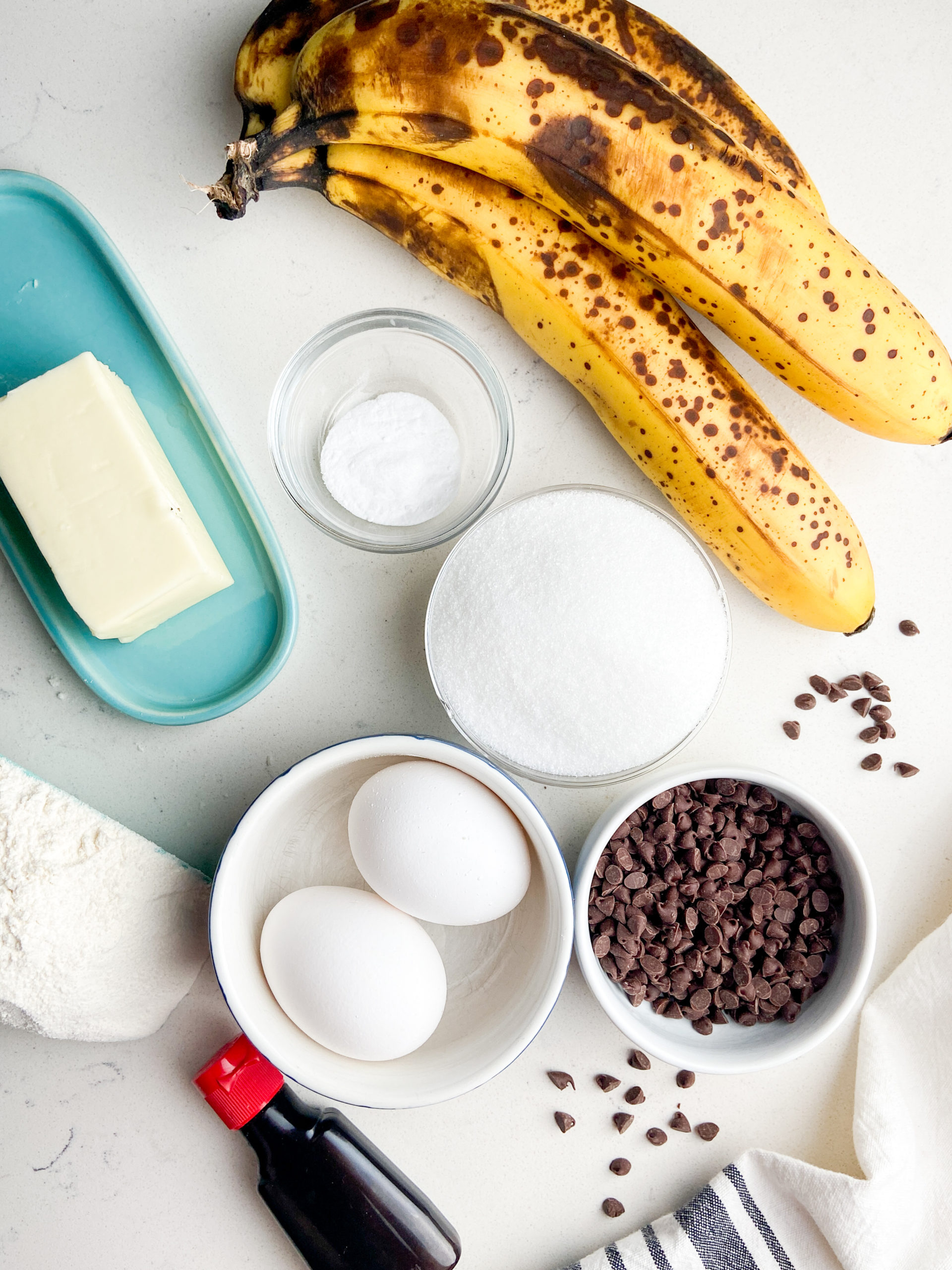 Overhead photo of ingredients needed to make chocolate chip banana bread.