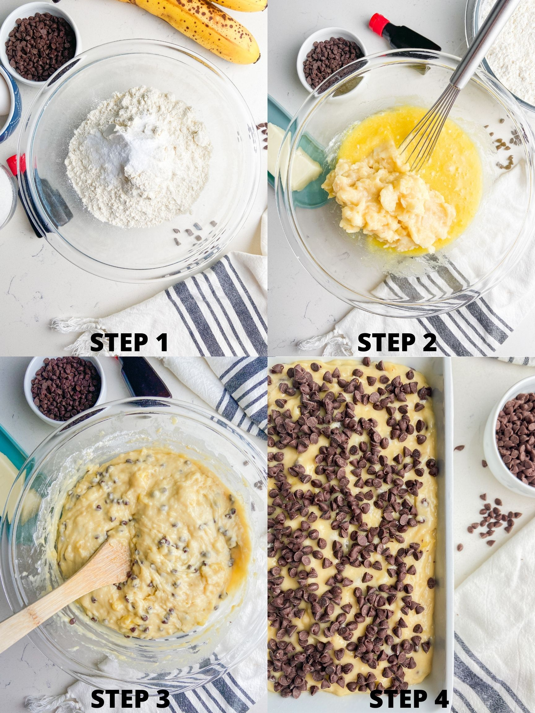 Step by step photos showing how to make chocolate banana bread.