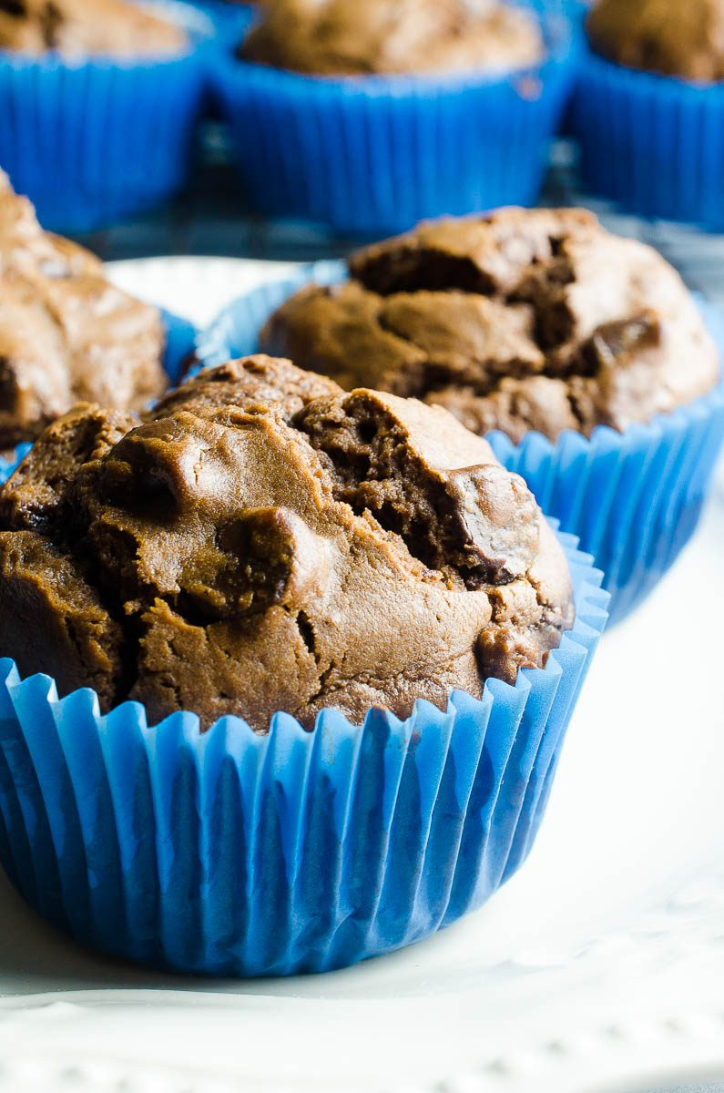 Chocolate Chocolate Chip Muffins are a family favorite! Sweet but not too sweet, they are great for breakfasts on the go or afternoon snacks.