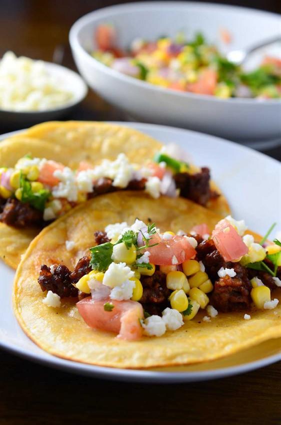 Chorizo Tacos with Sweet Corn Salsa