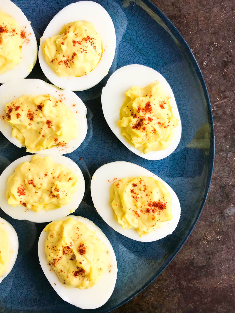 Classic Deviled Eggs with mayonnaise, mustard, and a few seasonings. They are a party and BBQ classic for a reason, everyone loves them!