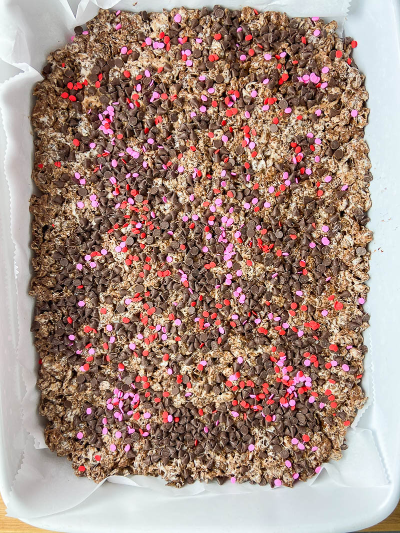 Overhead photo of cocoa pebble krispie treats in a pan.