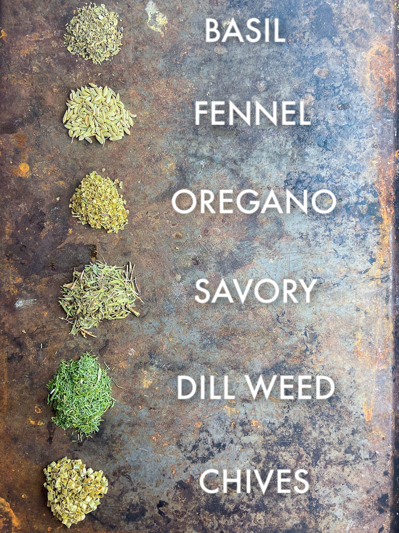 Overhead picture of dried herbs