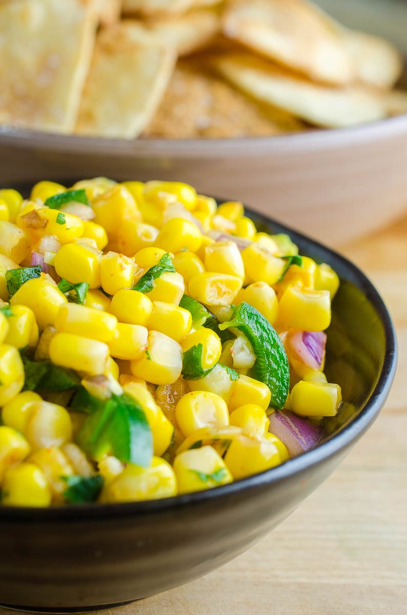 Easy Corn Salsa with tortilla chips