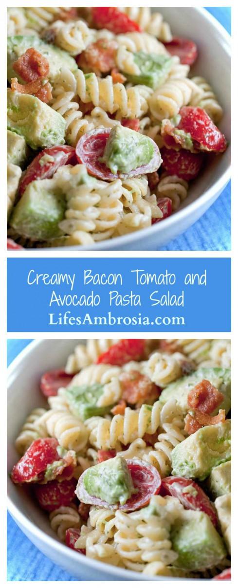 Forget boxed mixes, this Creamy Bacon Tomato Avocado Pasta Salad is the perfect potluck salad.