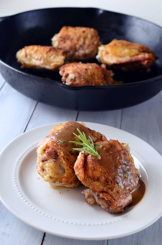 Crispy Chicken Thighs with Honey Dijon Balsamic Pan Sauce