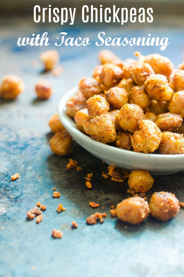 Crispy Chickpeas are an easy, versatile snack. These Crispy Chickpeas are pan fried and tossed in taco seasoning. Eat them as a snack or in a taco shell for a vegetarian taco! #Chickpeas #vegetarianrecipe #vegetarian #vegan