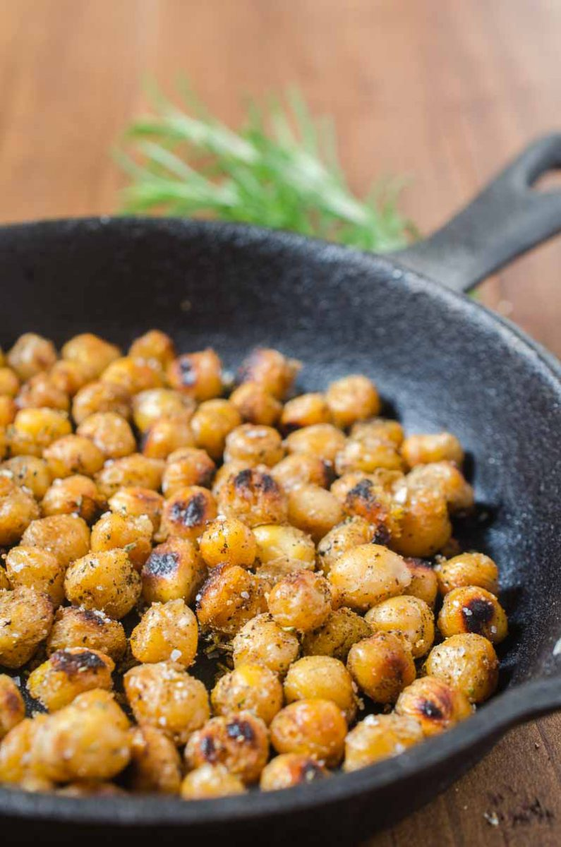 Crispy Chickpeas are a versatile snack that is always a crowd pleaser. This version with rosemary and garlic will be a favorite for sure!