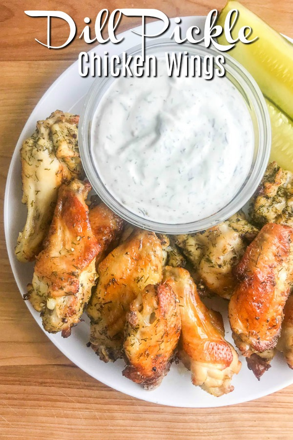 Dill Pickle Chicken Wings will be your new favorite wing! Baked Chicken Wings get a dill pickle twist with pickle brine. The whole family will love these easy baked chicken wings. #dillpickle #chickenwings #ovenbakedchickenwings #bakedchickenwings