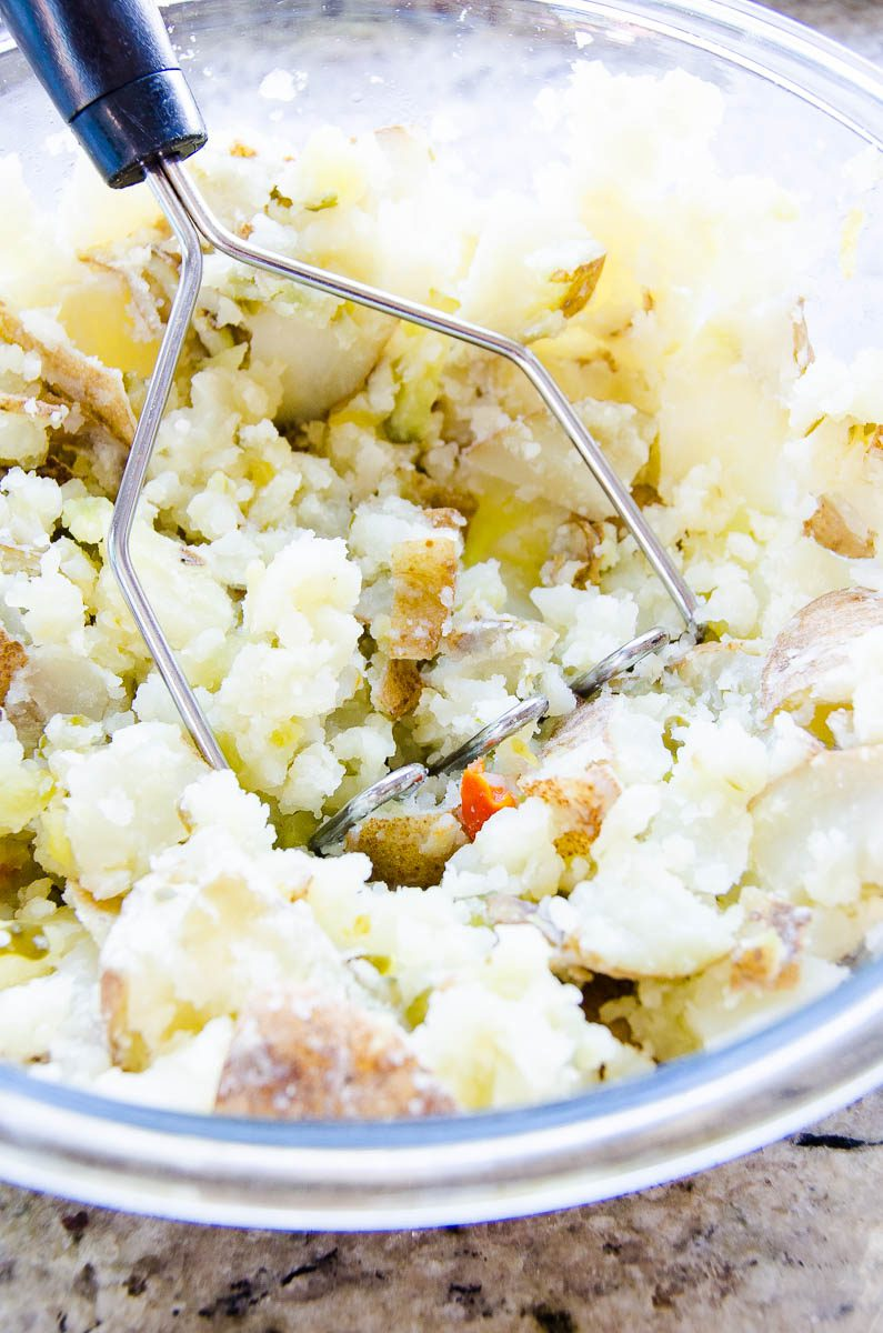 Slightly mash potatoes for the best potato salad