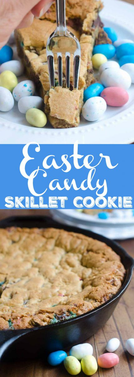 What's better than Easter candy? A big ol' Easter Candy Skillet Cookie! This Easter Skillet Cookie is loaded with chocolate chips, malted milk and malted robin eggs.