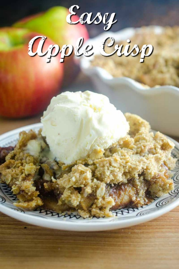 Easy Apple Crisp is the perfect fall dessert. Loaded with sweet apples and topped with a crumb topping. It's my favorite easy alternative to apple pie! #apples #applecrisp #thanksgivingdessert #christmasdessert #falldessert #fallrecipe