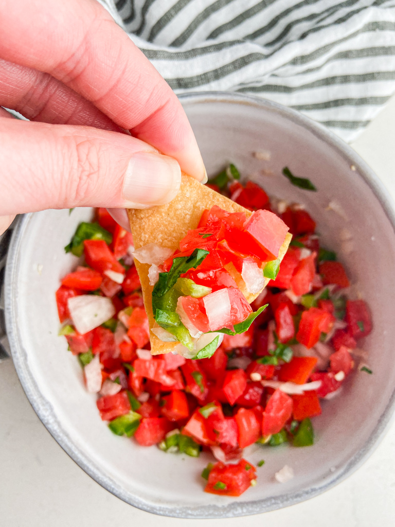 Overhead photo of chip with pico de gallo on top.
