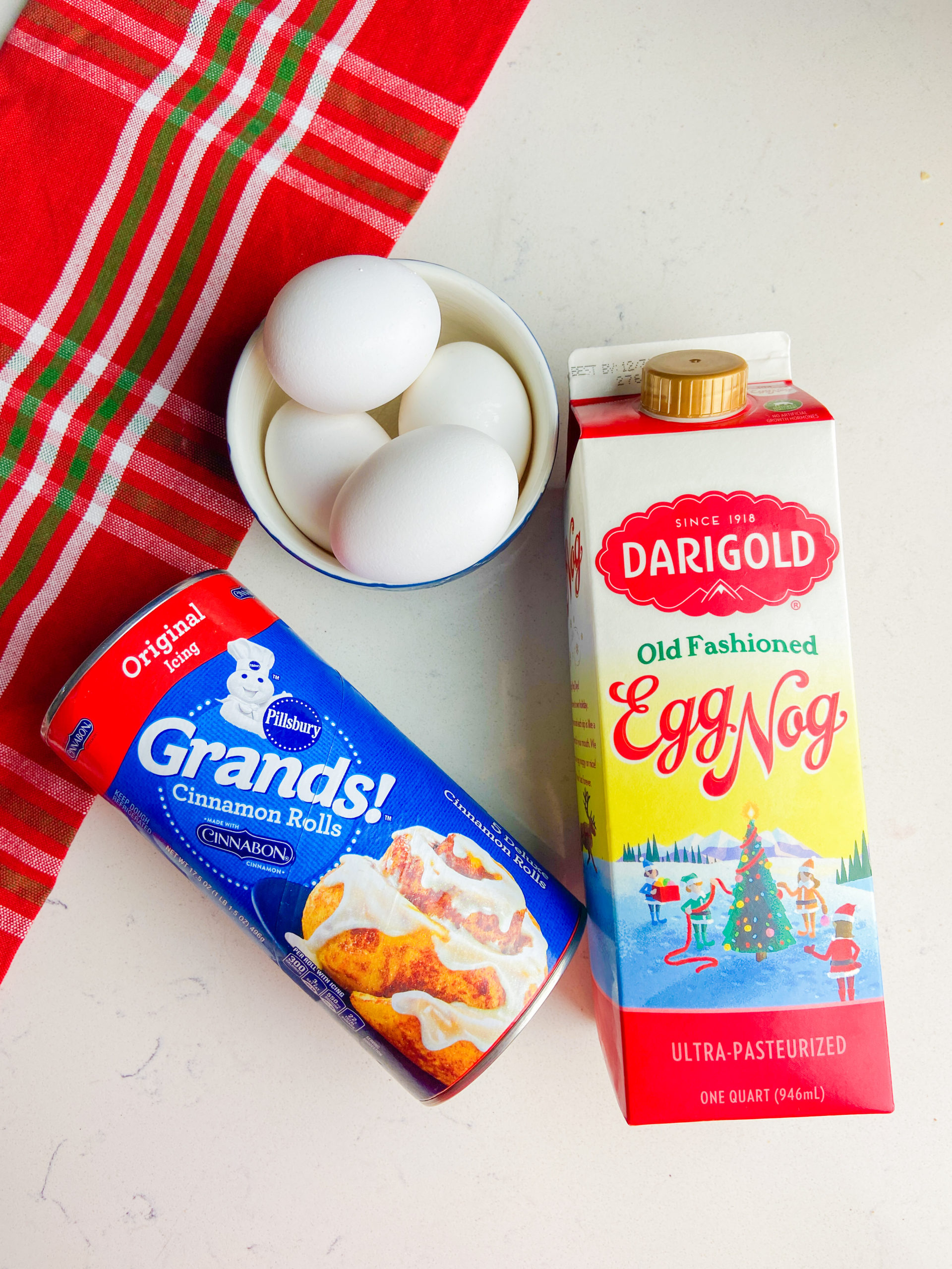 Ingredients for eggnog french toast casserole.