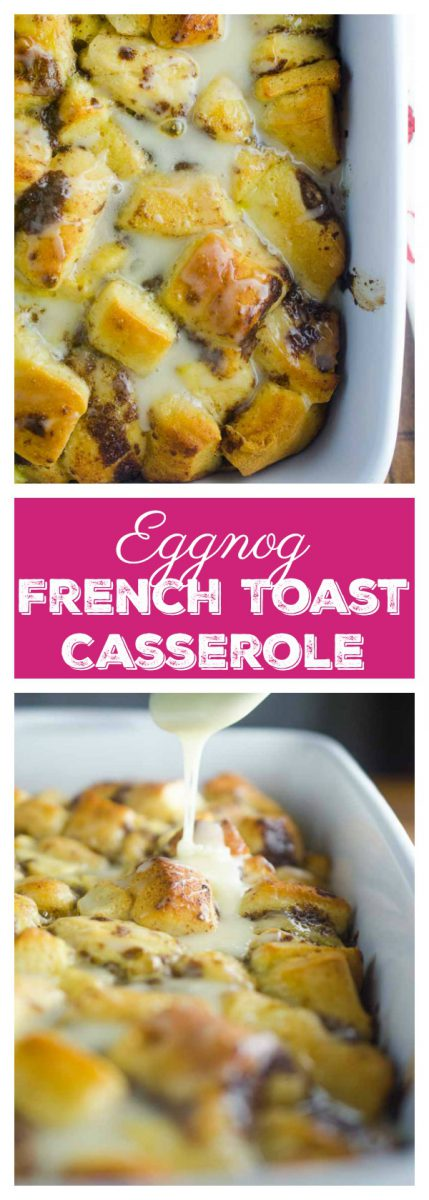 Eggnog French Toast Casserole is an easy brunch perfect for Christmas morning! With 3 ingredients and a decadent eggnog glaze, it'll be your new favorite tradition!