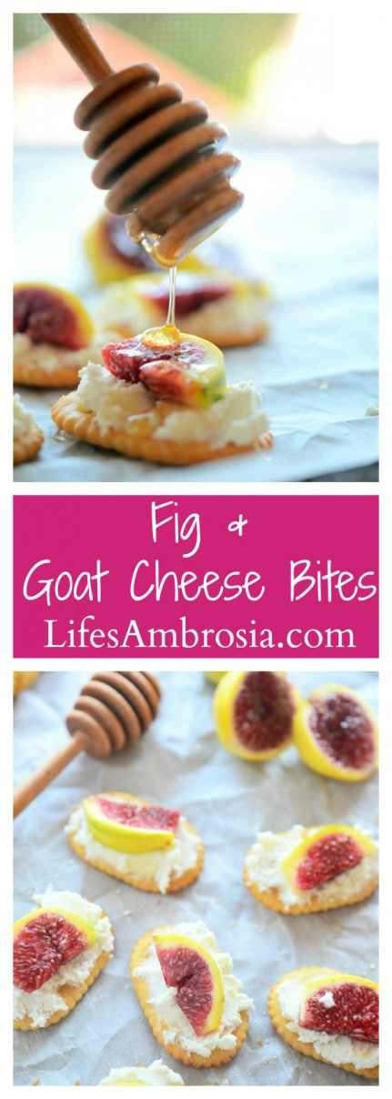 These Fig and Goat Cheese bites are the perfect cocktail party appetizer! Buttery crackers, goat cheese, sweet figs and a drizzle of honey.