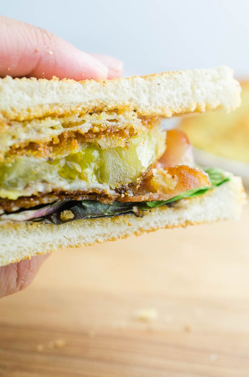 Up close view of fried green tomato BLT